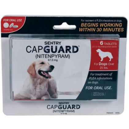 Black, red and white package of Sentry Capguard tablet flea control. A yellow lab is pictured laying down