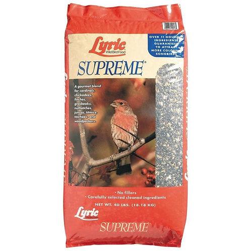 Red bag of lyric supreme bird seed.
