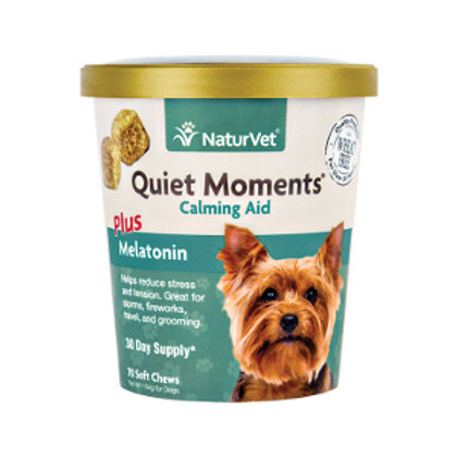 Small lidded container of Quiet Moments calming aid chews with a Yorkie pictured on the right front.