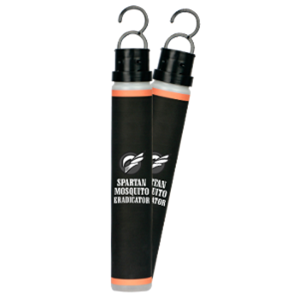 Pair of black cylinder bottles with hooks on top to hang from trees and keep mosquitoes away