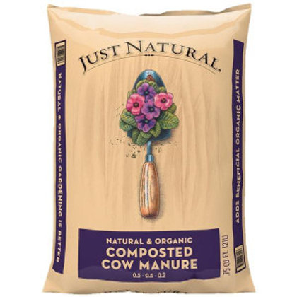 Tan bag of Just Natural Composted Cow Manure