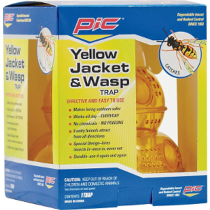 Blue and Yellow box, housing a plastic yellow wasp and yellow jacket trap