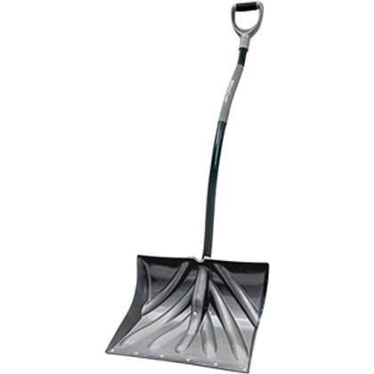 Long, D-handled snow shovel with black metal handle, gray head, and a wear strip on the bottom.