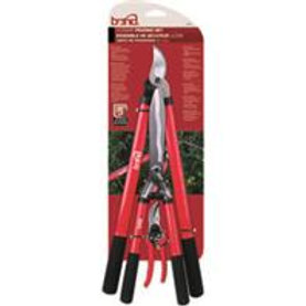 red with black handle garden tools, loppers, shears, and pruners placed in decending order on the hang tag
