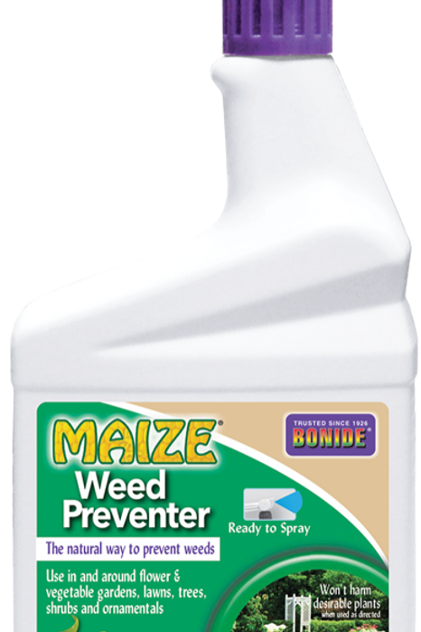 Close up of green and white bottle Maize Weed Preventer