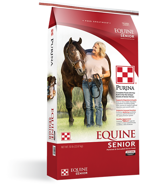 Red and white bag of purina equine senior