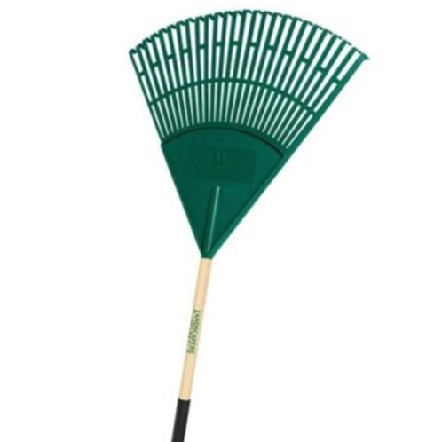 Green poly leaf rake with wood handle