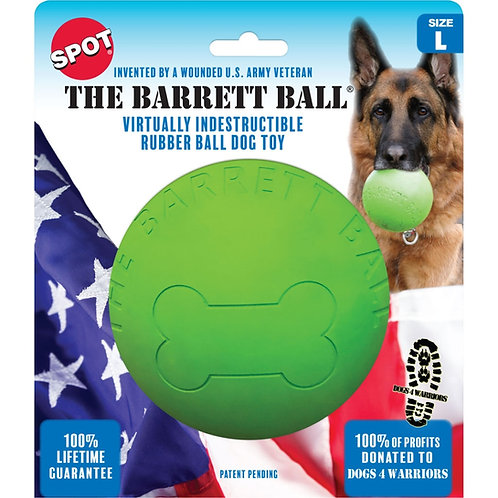 Large lime green rubber ball for dogs mounted in patriotic cardboard packaging