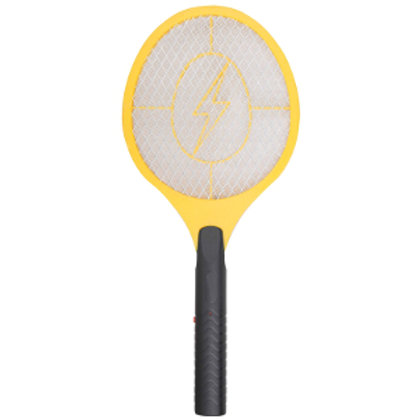 Yellow top and black handle electric fly swatter resembling a tennis racket