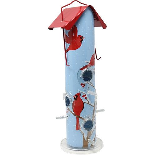 Powder blue background with red cardinal print metal bird feeder.