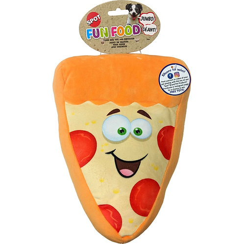 Brightly colored, plush pizza dog toy, with eyes and a smile.