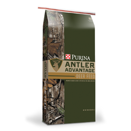 Dark green & camo Bag of Purina Antler Advantage deer feed