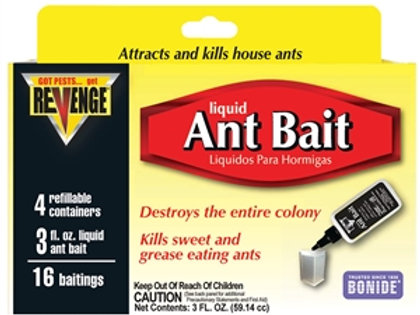 Yellow, black, and red box of liquid Ant bait