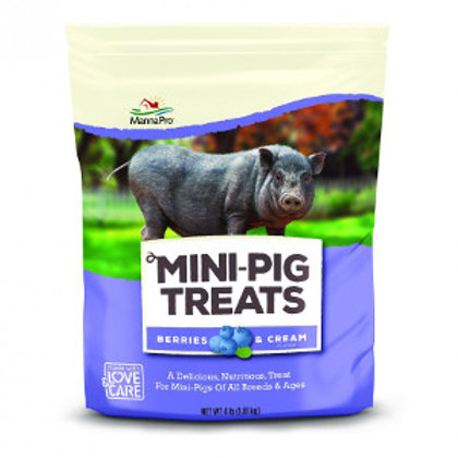 Purple bag of manna pro mini-pig treats with a gray mini pig pictured on the front.