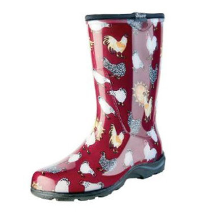 Red boot with Chicken print
