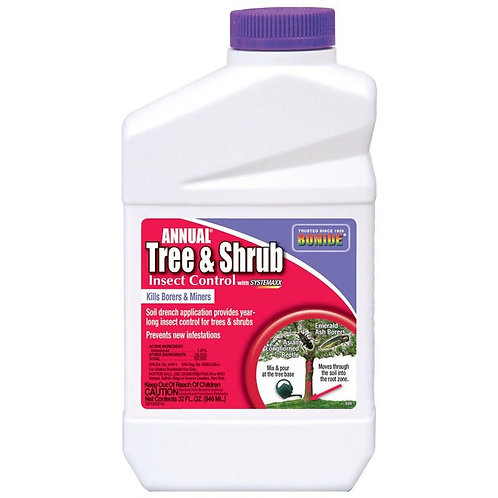 White, red and purple quart sized bottle of annual tree and shrub insect control.