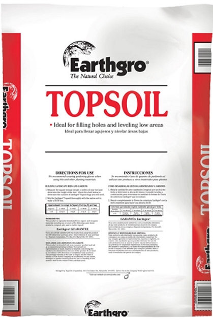 Red and White bag of Top Soil