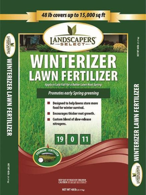 Green and Burgundy bag of Winterizer Lawn Fertilizer
