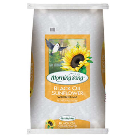 Large white and yellow bag of Black Oil Sunflower seed.