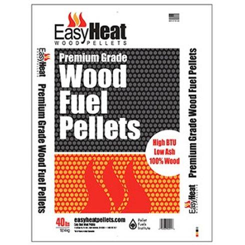 White, Black, and orange bag of Easy Heat wood pellet fuel