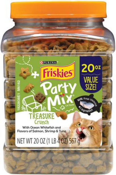 clear 20 ounce tub of cat treats with a lime green label
