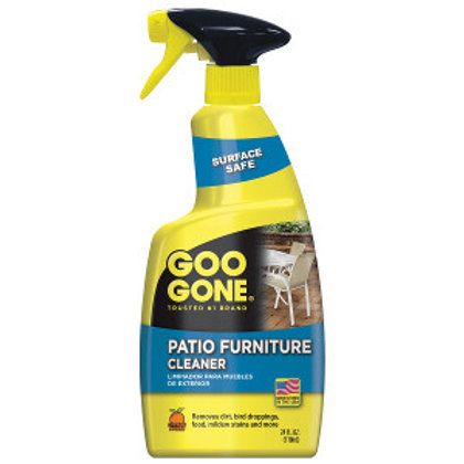 Yellow and blue spray bottle of Goo Gone patio furniture cleaner
