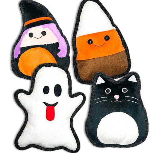 Halloween dog toys of a witch, candy corn, ghost, and black cat