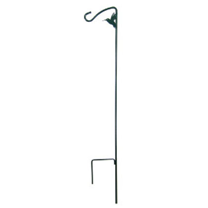Metal stake with hook and a metal hummingbird attached at the top curve