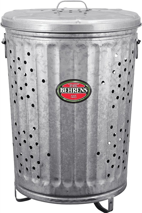 Galvanized metal trash can with holes throughout.