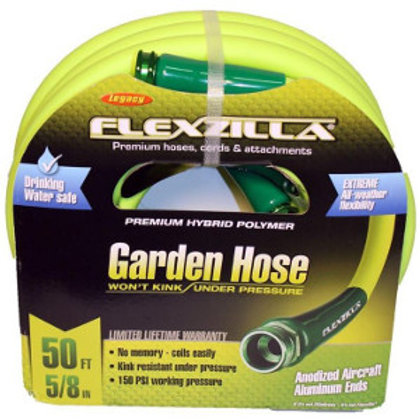 Rolled up flexible, yellow garden hose.