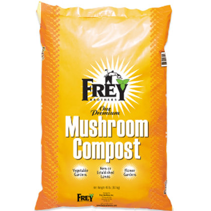 Yellow bag of Frey Mushroom Compost