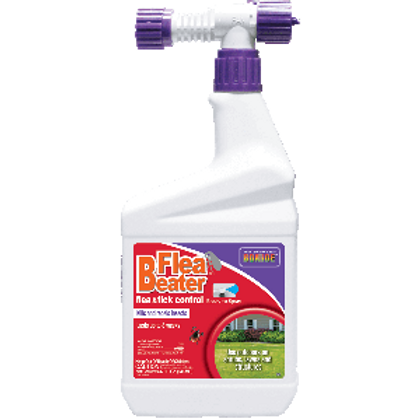 White, red, and purple bottle of flea beater spray with a top designed to attach to a garden hose.