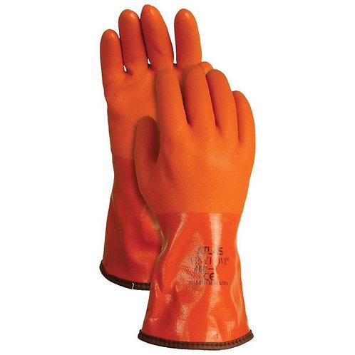 Orange, rubber snow blower gloves.