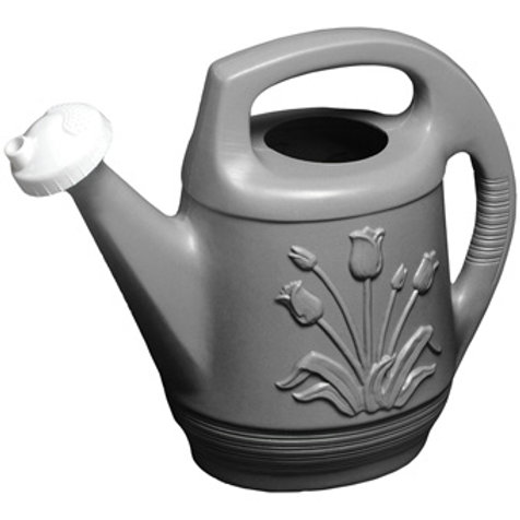 gray, plastic watering can with a white spout and tulips pictured on the side.
