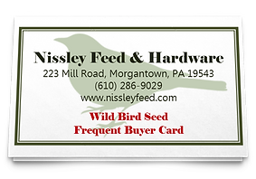 Nissley Feed wild bird frequent buyer card.