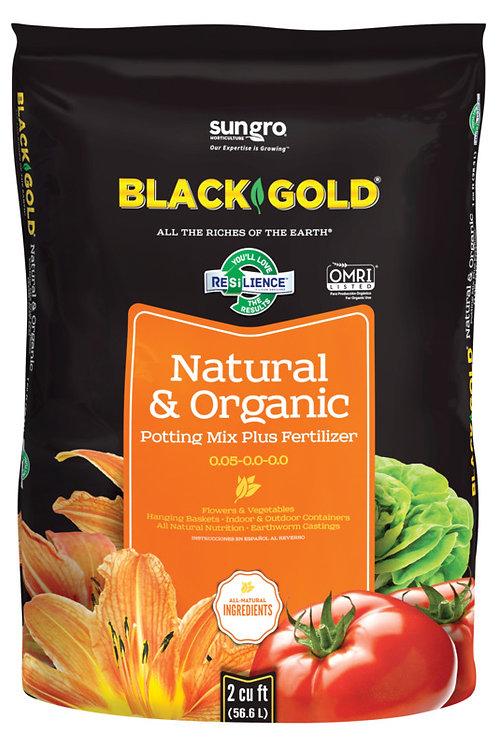 Black and orange bag of Black Gold Organic potting soil
