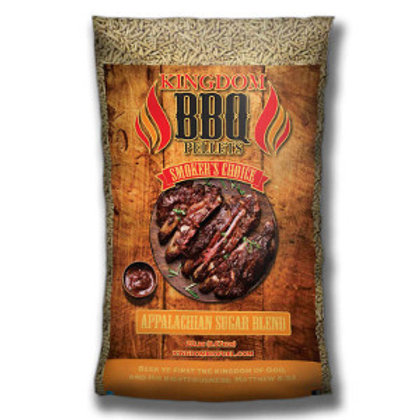 clear bag of smoker barbeque pellets, cooked meat is pictured in the center of the bag
