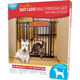Easy Close Walk-Through Gate With Small Pet Door