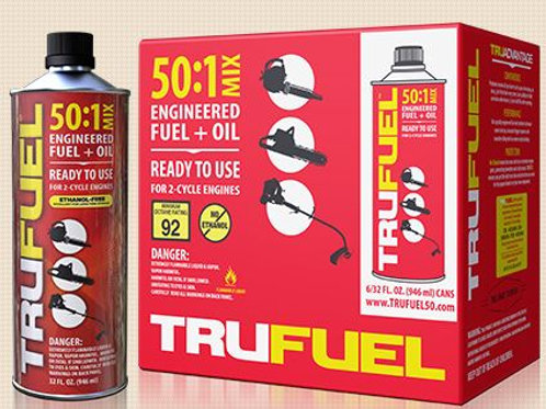 Red bottle of premixed fuel and oil standing next to the case it comes in.
