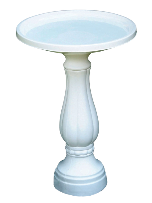 White, plastic pedestal bird bath.