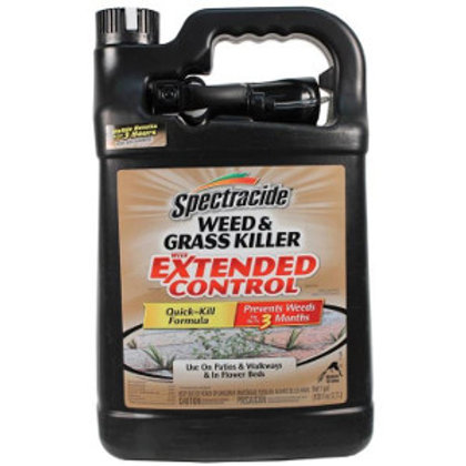 Black and tan gallon bottle of ready to use Spectracide weed and grass killer extended control.