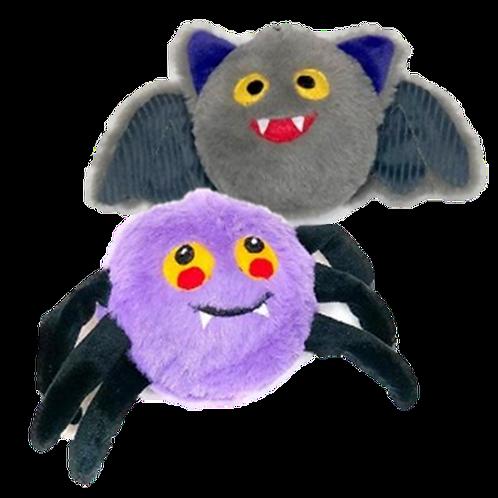 Fuzzy purple spider and fuzzy gray bat dog toys