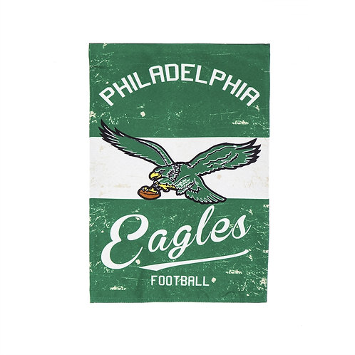 Small green and white garden flag of vintage Philadelphia Eagles emblem with antique wear