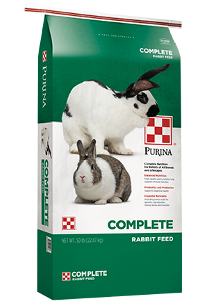 Green and white bag of Purina Rabbit Complete rabbit food.