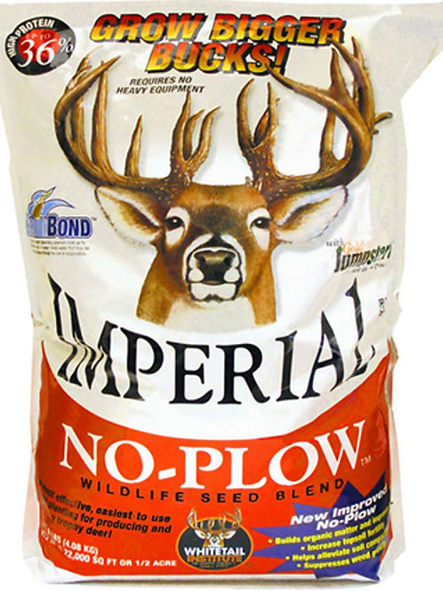 White and Orange bag with a whitetail buck and the words Imperial No Plow
