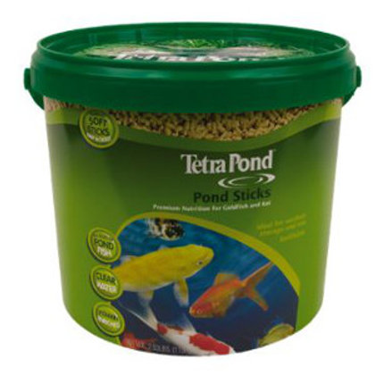 Lime green tub with handle of Tetra Pond pond sticks. Brightly colored koi fish are shown swimming on the front.