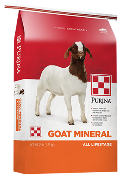 Red, white, and orange Bag of Purina Goat Mineral