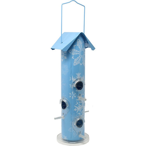Powder blue color, with a white snowflake print, metal bird feeder.
