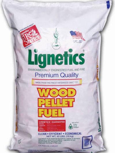 White bag of Lignetics wood pellet fuel