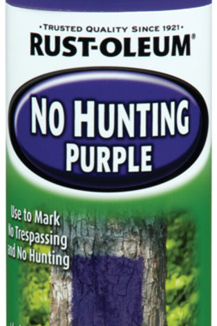 Purple capped spray can with the words No Hunting on front